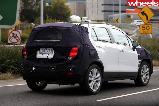 Holden -Trax -spy -rear -side -driving