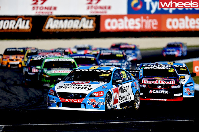 V8-Supercars -volvo -driving -around -track