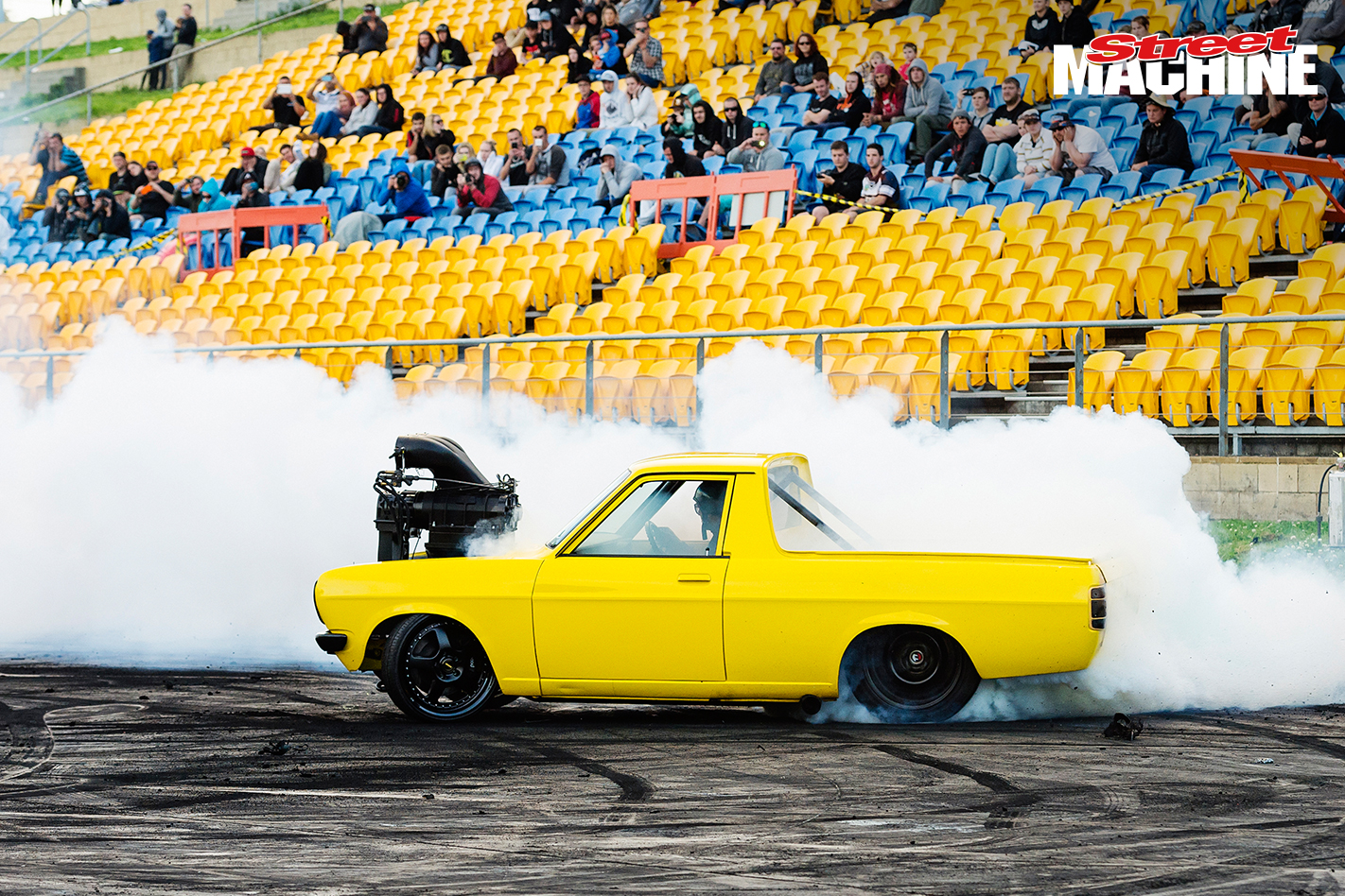 Datsun Ute Burnout Blown