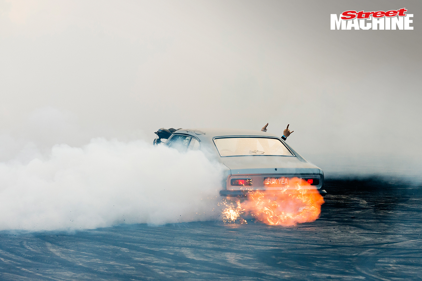 Ford Capri Burnout Fire Blown