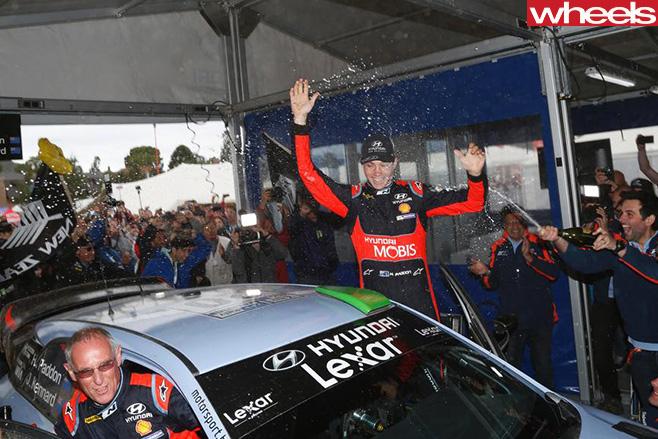 Hayden -Paddon -celebrating -WRC-win -Rally -Argentina -champagne