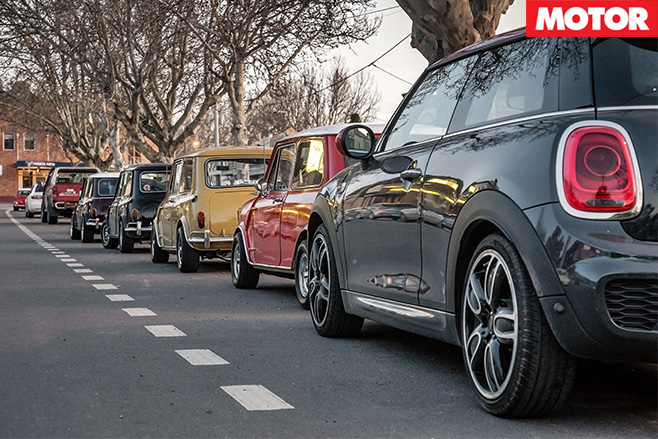 Mini cars lined up