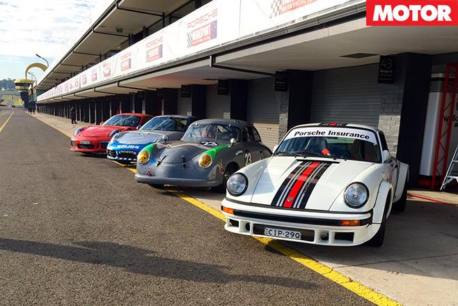 Porsches lined up