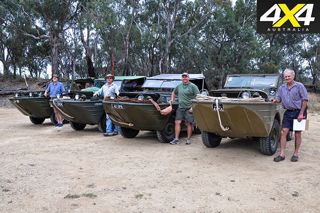 Four Amphibious 4x4s lined up