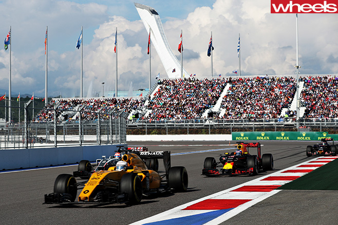 F1-cars -driving -track
