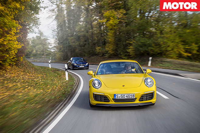 911 Carrera vs C63 S front driving