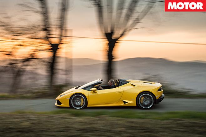 Lamborghini Huracan Spyder side driving
