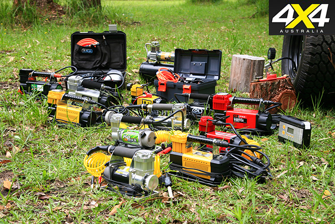 Air compressors group shot