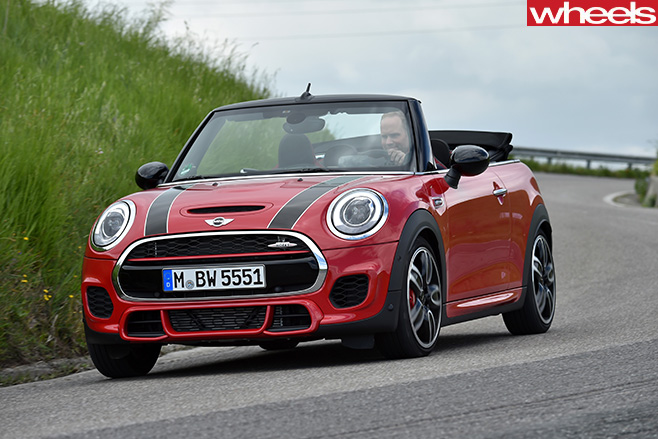 Mini -JCW-convertible -front -side -driving