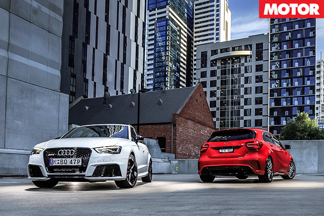 Audi RS3 vs Mercedes-AMG A45 parked