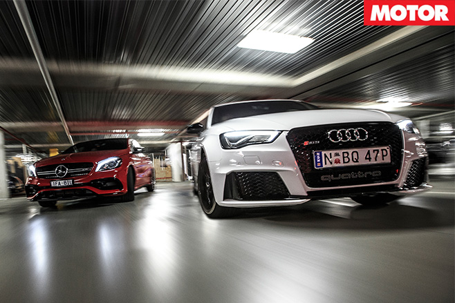 Audi-RS3 vs Mercedes-AMG A45 fronts
