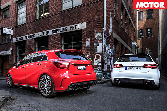 Audi RS3 vs Mercedes-AMG A45 rear
