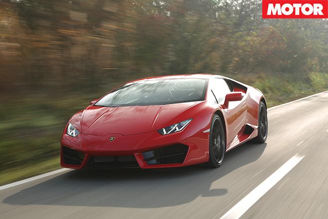Lamborghini Huracán LP 580-2 driving fast