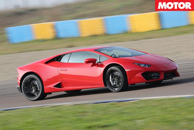 Lamborghini Huracán driving fast side