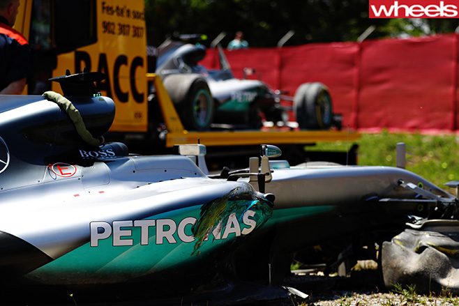 Mercedes -F1-racing -team -car -crash -Spanish -F1-Grand -Prix