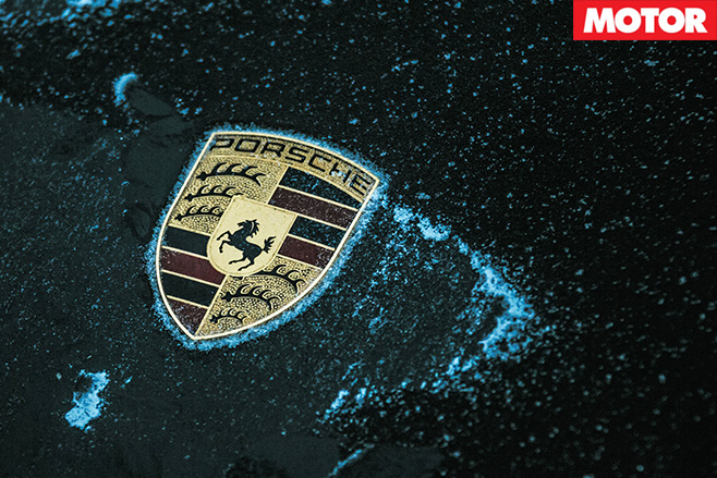 Porsche badge frozen