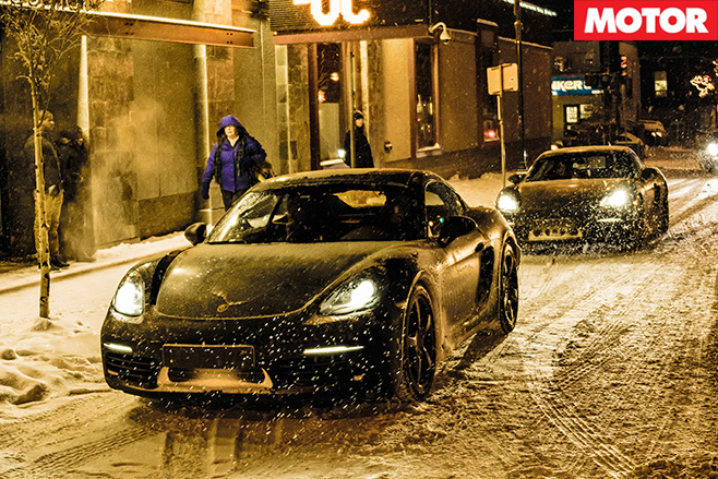 Porsches in the snow