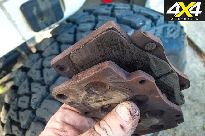 Worn front brake pads