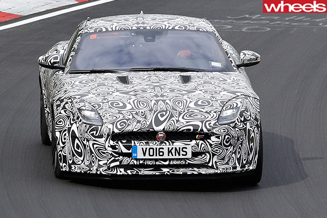 Jaguar -F-Type -front -driving -camoflage