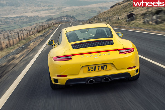 Porsche -911-yellow -rear