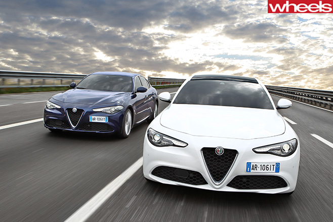 Alfa -Romeo -Giulia -front -on -highway