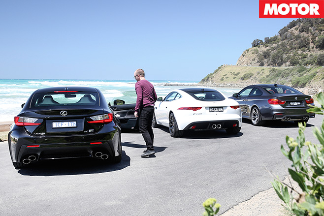 BMW M4 Vs Lexus RC F Vs Jaguar F Type Coupé V6 S Rears