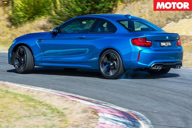 BMW M2 drifting rear view
