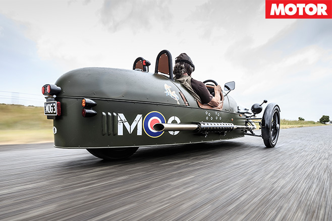 Morgan 3-wheel car rear driving
