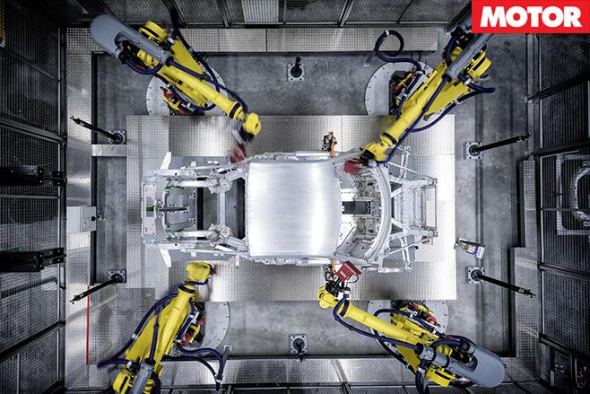 Robots building audi r8