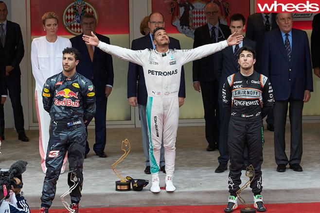 Lewis -Hamilton -and -Daniel -Ricciardo -Monaco -F1-Grand -Prix -podium