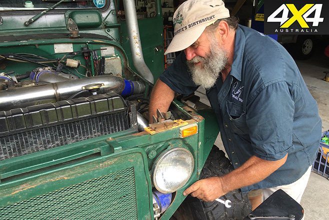 Roothy fixing the engine
