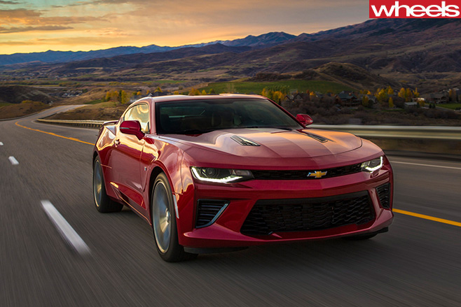Chevrolet -Camaro -red -driving