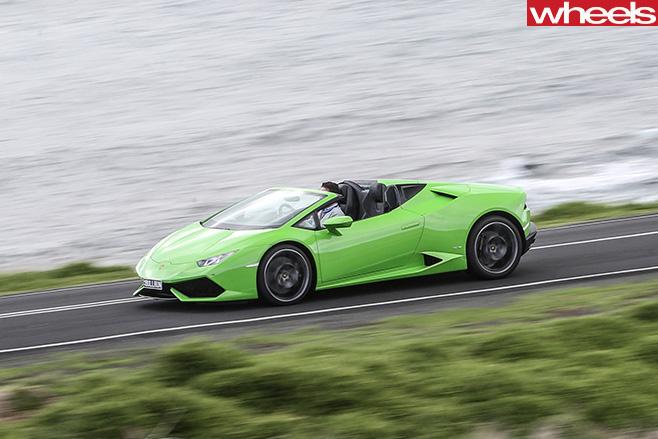 Lamborghini -Huracan -Spyder -driving -top -side