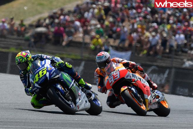 Valentino -Rossi -riding -motorbike -Moto GP-Marc -Marquez