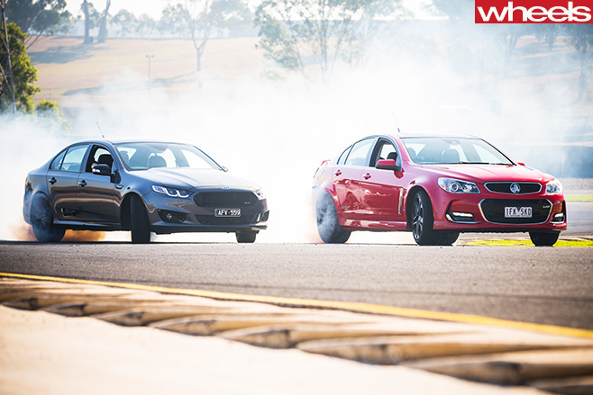 Holden -Commodore -driving -Ford -Falcon