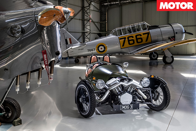 Morgan 3wheeler in hangar