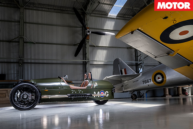 Morgan 3 wheel and aeroplane