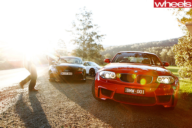 BMW-1M-vs -Audi -TT-RS-vs -Porsche -Cayman -sunlight