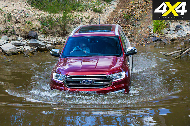 Ford everest driving through water