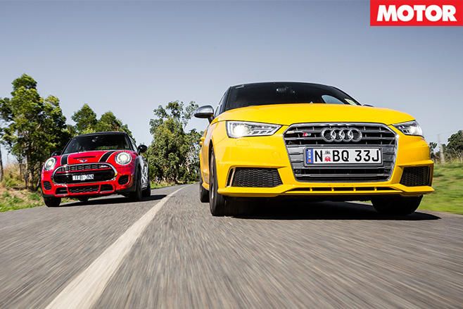 Audi S1 vs MINI Cooper JCW racing