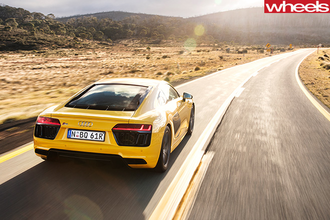 Audi -R8-V10-driving -rear -top