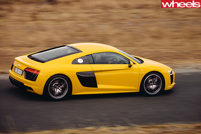 Audi -R8-V10-driving -side -top