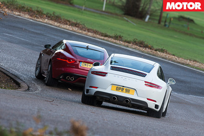 Porsche 911 Carrera S vs Jaguar F-Type R rear