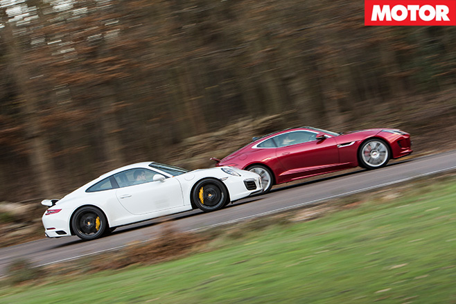 Porsche 911 Carrera S vs Jaguar F-Type R side