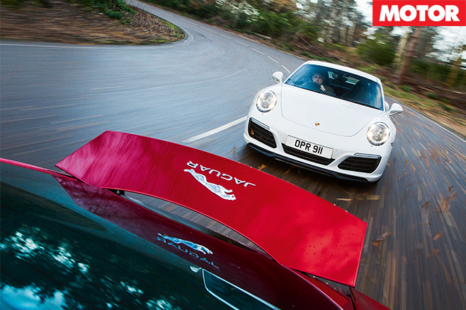 Porsche 911 Carrera S vs Jaguar F-Type R front