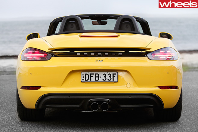 Yellow -Porsche -Boxster -rear