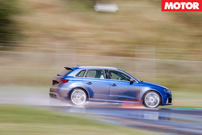 Audi rs3 driving fast on water