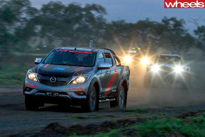 Mazda -BT-50-driving -front -side -Finke -Desert -Race -doors -open