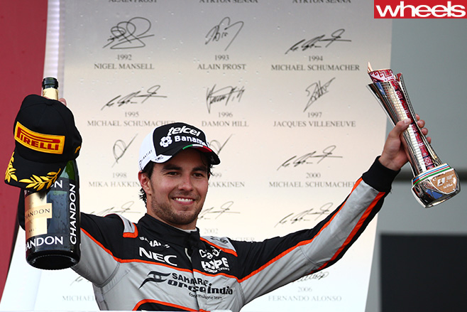Sergio -Perez -Force -India -celebrating