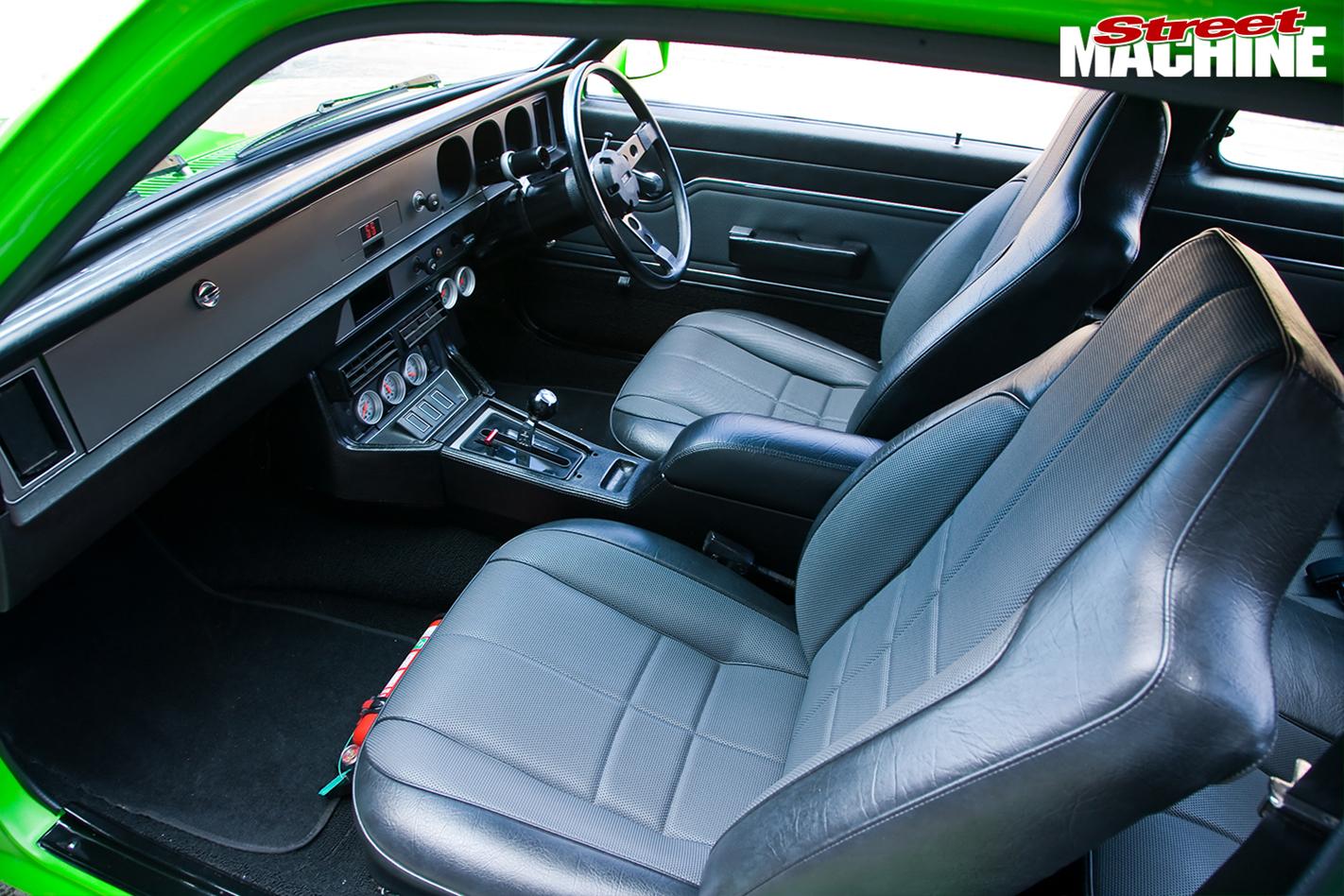 Holden -Torana -LX-Hatch -front -interior -front -passenger